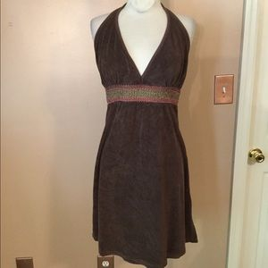 Vintage 90's brown terrry cloth halter dress small